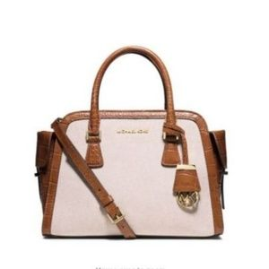 Michael Kors Harper Medium Two-Tone Canvas Satchel